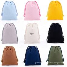 Portable Solid Color printed logo Drawstring storage Bag Plain cotton Bundle Pocket