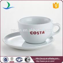 China fabricante taza de porcelana de taza de té de uso de hotel de tamaño diferente y conjunto de placa