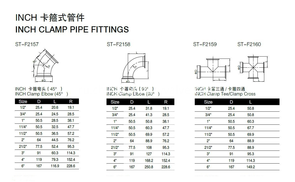 3A Clamp Fittings drawing