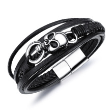 Black leather stainless steel skull bracelet
