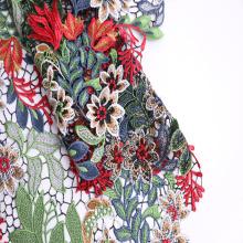 Nouveau tissu de dentelle chimique multicolore de polyester de conception de mode