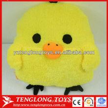 Frango engraçado amarelo em forma de travesseiro de pelúcia para aquecedor de mão
