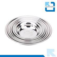 Placa de jantar de aço inoxidável Mulit-Size, placa redonda / nenhum derramamento Bowl