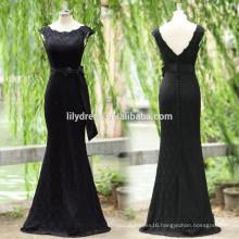 Black Lace Cap Sleeves Floor Length Custom Made Long Prom Party Dresses Vestido De Fiesta PD104 long tight prom dresses