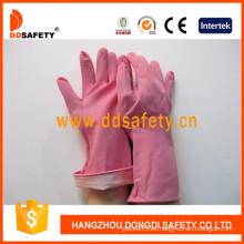 Guantes de caucho / látex de color rosa para el hogar, manguito enrollado (DHL421)
