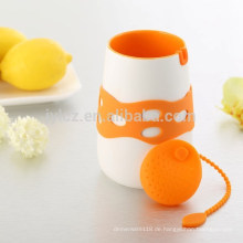 Keramische Teekanne 480cc mit Silikontee infuser und Silikonhülse