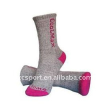 100% algodón orgánico mujeres tejidas calcetines de senderismo