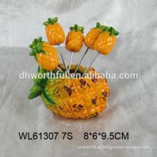 Abacaxi bonito em forma de garfo de fruta de cerâmica conjunto / picareta de frutas de cerâmica na forma de abacaxi