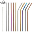Curved and Straight Alumina Straw with Cleaning Brush