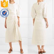 Neueste Design beige drei Viertel Länge Hülse gestreift Midi Kleid Herstellung Großhandel Mode Frauen Bekleidung (TA0317D)