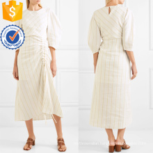 Latest Design Beige Three Quarter Length Sleeve Striped Midi Dress Manufacture Wholesale Fashion Women Apparel (TA0317D)