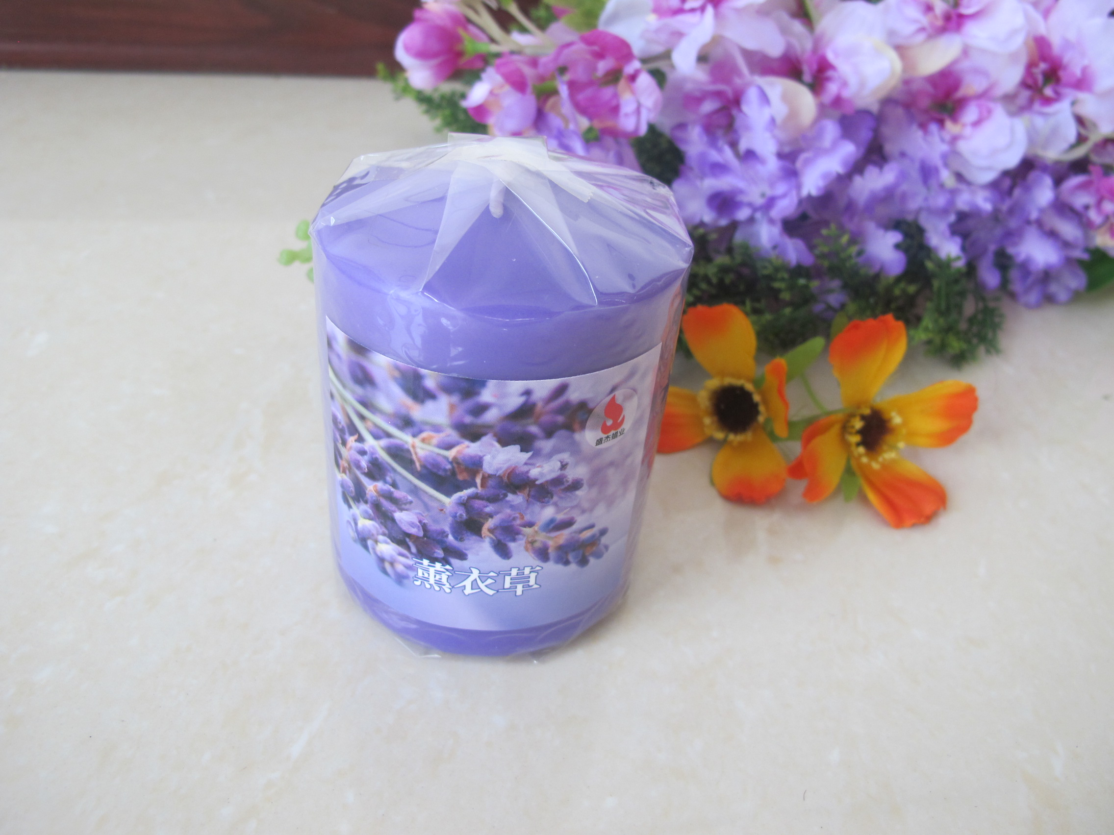 Purple Scented Pillar Candles