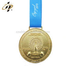 Custom olympic 3D embossed gold custom weightlifting medal with blue ribbon