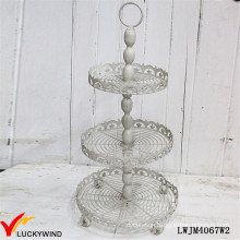 Rustic Gray 3 Tier Cake Stand, Metal Tray Stand or Fruit and Cupcake