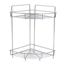 Stainless steel 2 layers storage metal wire rack  Wall Mounted Bathroom Kitchen Storage Shower Corner Shelf