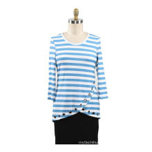 Ladies Printed Strips Rayon T-shirt