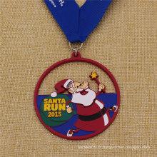 Médaille promotionnelle émail personnalisé Santa Run pour Noël
