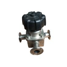 Válvula de diafragma de tres vías neumática de acero inoxidable
