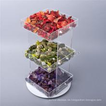 Kreative Lebensmittel Einzelhandel Store Arbeitsplatte 3-Tier Rotating Clear Acryl Cupcake Und Süßigkeiten Display Trays