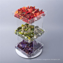 Creative Food Retail Store Countertop 3-Tier Rotating Clear Acrylic Cupcake And Candy Display Trays