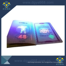 Invisibel fluoreszierende Anti-Counterfeiting Druck-Broschüre