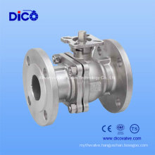 JIS Stainless Steel2PC Flange Floating Ball Valve with ISO5211 Mounting Pad