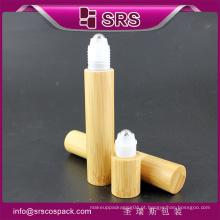 15ml de alta qualidade e rolo elegante em garrafa com bola de aço, bambu médico rolo garrafa