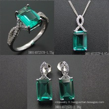 Synthetic Green Spinel Sterling Silver Jewelry Set