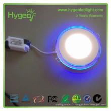 2015 ventes chaudes 6w 12w 20w Dimmable Changement de couleur led led light prix LED bleu rond + lumière blanche