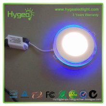 2015 hot sales 6w 12w 20w Dimmable Color changing led panel light price Round Blue+white color led panel light