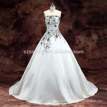 2017 train de balai en dentelle satinée en satin blanc robe de mariée avec de vraies photos