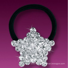 fashion metal silver plated crystal star shape rubber hair band