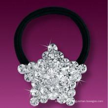 Moda metal prata chapeado cristal estrela forma borracha cabelo banda