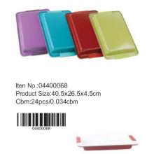 Bandeja retangular fundo colorido com alça de silicone