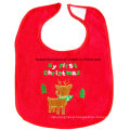 Customized Design Embroidered Cotton Terry Christmas Promotional Baby Bibs Infant Drool Bibs