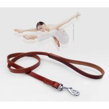 Laisse en cuir pour harnais pour chiens avec poignée de circulation et double couche pour chiens moyens et grands