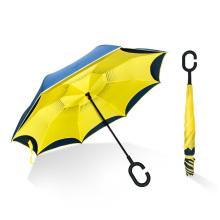 vente en gros pongé tissu mains libres double couche inverser à l'envers parapluie inversé