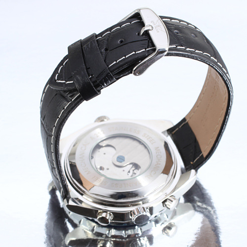 Stainless Steel/Leather Tourbillon Automatic Mens Watch