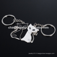 Noir et blanc chat porte-clés cadeaux de mariage noir et blanc chat couple chaîne YSK008