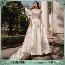 Long sleeve wedding dress bridal gown embroidery wedding dress philippines muslim wedding gown