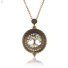 Hollow Out Retro Vintage Life Tree 5x Magnifying Sweater Chain Magnifier Necklace