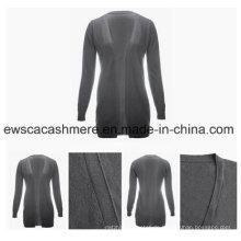 Graue Farbe Ladies Long Cashmere Strickwaren