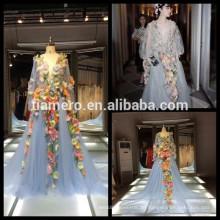 China Real Bild Wunderschöne Feder Dreidimensionale Blumen Stil Abendkleid Satin Perlen Brautkleider für Braut 2016