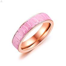 Bague de fiançailles de mariage en or rose avec bande de cristal rectangle