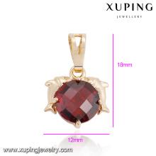 32877 Wholesale graceful women jewelry double dolphin style circle shaped gemstone pendant