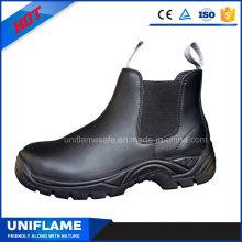 Nenhum laço aço Toe segurança trabalho sapatos de couro preto