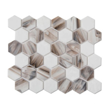 White Mixed Brown Stained Glass Hexagon Mosaic Tiles
