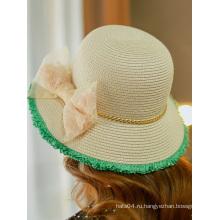 Летняя мода Кружева Bowknot защиты от солнца соломенные шляпы Китай завод