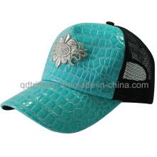 Popular Shinning cuero falso Mesh Sport Trucker Cap (TMT1911)