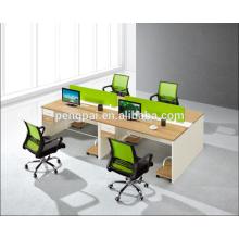 Green partition 4 person staff desk 03